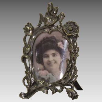 Vintage Miniature Metal Picture Frame for Dollhouse or Fashion Doll