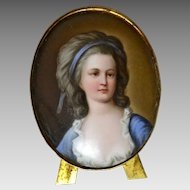 Miniature Hand painted Porcelain Portrait of Countess Potcka