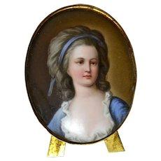 Miniature Hand painted Porcelain Portrait of Countess Potcka