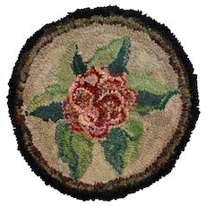 Hooked Rug Floral Chair Pad, Folk Art, Circa 1920's