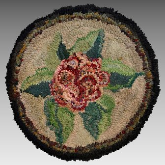 Hooked Rug Floral Chair Pad, Folk Art, Circa 1920's