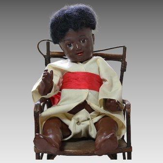 Black Kammer and Reinhardt Celluloid Socket Head Baby Doll, Cabinet Size, 728 Mold, Circa 1910