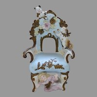 Antique German Bisque Spill Vase with Cats on Chair and Girl, Circa 1890