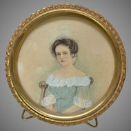Antique Miniature Portrait on Paper of Young Girl in Chair Circa 1840