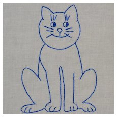 Six Quilt Blocks, Blue Embroidered Cats