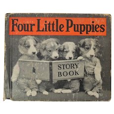 Four Little Puppies Children's Book with Photographs by Harry Whittier Frees 1935