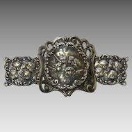 Art Nouveau Silver-Plate Belt Buckle Featuring Angels' Heads