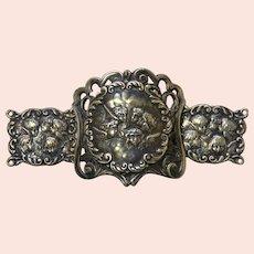 Art Nouveau Silver-Plate Belt Buckle Featuring Angels' Heads