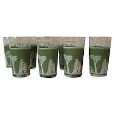 8 Jeannette Hellenic Green Greek Image Drinking Glasses
