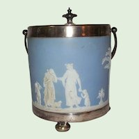 Wedgwood Light Blue Jasperware Biscuit Barrel Offering to Peace - Made in England