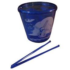 Blue Windmill Hazel Atlas Glass Ice Bucket with 2 Blue Glass Stirrers