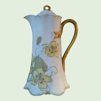 Haviland H. & Co. Limoges Coffee Server, Hand Painted Bisque