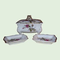 Porcelain Cigarette Holder with Cover and Two Matching Ashtrays