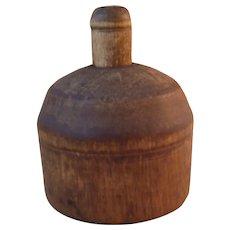 Vintage Round Wood Oak Leaf Butter Mold