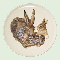 1975 Goebel First Edition Rabbits Plate - Goebel West Germany,  Mother's Series in Bas Relief