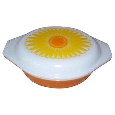Pyrex Sunflower Orange Oval 043 Baking Dish 1 1/2 qt