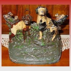 Vintage cast iron doorstop---two English Pointers