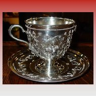 Rare Tiffany sterling silver cup & saucer Birdnest pattern