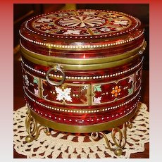Large Exceptional Bohemian art glass dresser box---cranberry