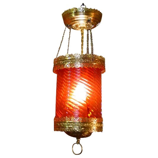 Pretty cranberry ceiling light fixture--rewired SOLD | Ruby Lane