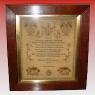 Sampler by Elizabeth Mary Grattan---1841
