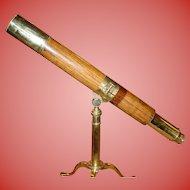 Fine antique rosewood barrel telescope by Blakeney