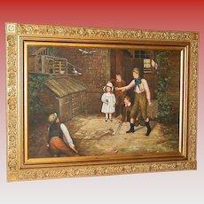 Oil on canvas-5 Victorian children training pigeons-Burr