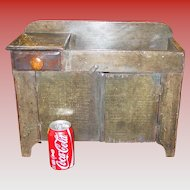 Cute 19th century miniature wooden dry sink--doll??