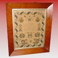 School girl Needlework poetry sampler-Susan Guy--dated 1848