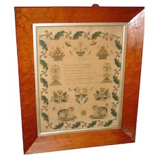 School girl Needlework poetry sampler-Susan Guy--dated 1848
