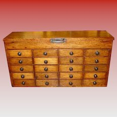 Small 20 drawer oak watchmakers case