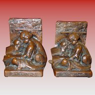 Signed Weidlich Bros copper clad bookends---COMPANIONS