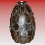 R Lalique Perles pattern vase---excellent