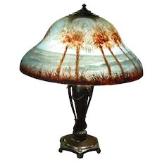 Exceptional Classique reverse painted table parlor lamp