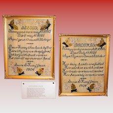 Touching pair of antique memorial samplers--1904