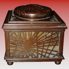 Tiffany Studios bronze ink well-Pine Needle pattern----excellent