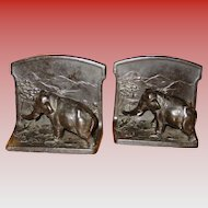 Pair elephant bookends-L V Aronson-dated 1923
