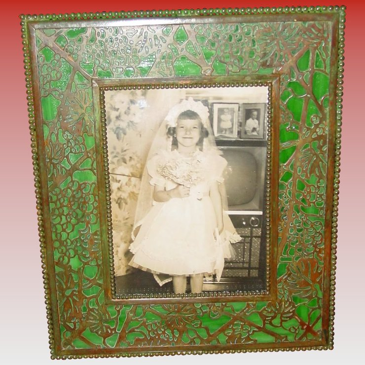 Tiffany Studios Picture Frame Grapevine Pattern Sydows Antiques