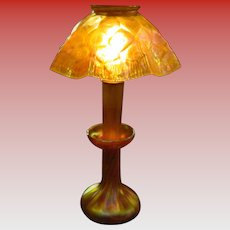 L C Tiffany candle lamp with rare honeycomb shade