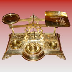 Beautiful brass desk postal letter scale--with embossed flowers & weights