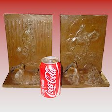 Large bronze bookends  Cowboys   Mehl Lawson