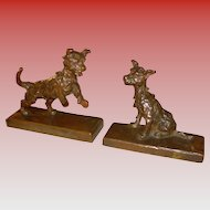 Pair Edith Parsons bronze dog bookends