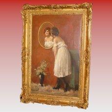 Oil on canvas -  Beauty admiring in mirror-Attilio Toro--1st half 20th c