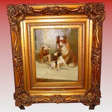 Oil on canvas-Julius Hartung-three dogs--collie-bulldog-Jack Russell