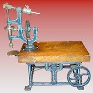 Marklin iron & wood toy live steam engine drill press