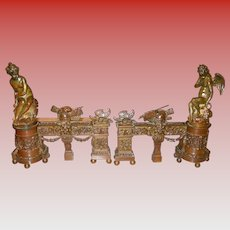 Pair antique bronze chenets andirons fireplace-Cupid & Maiden