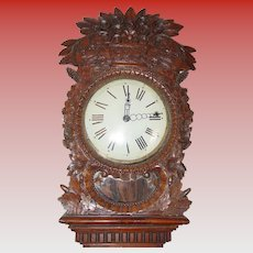 Fine heavily carved antique French tall case clock