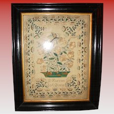 Exceptional needlework sampler by D Harries---1838