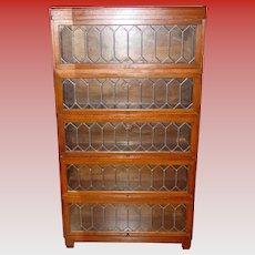 Antique 5 stack Quartered oak barrister bookcase leaded glass
