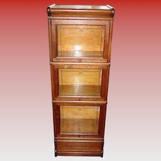 Antique MACEY half size quartered oak barrister bookcase